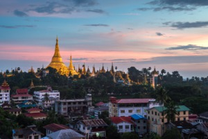 Sunset over Yangon, Myanmar