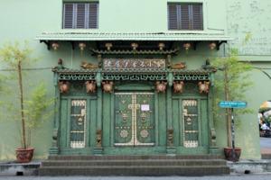Old temple door in George Town, Penang