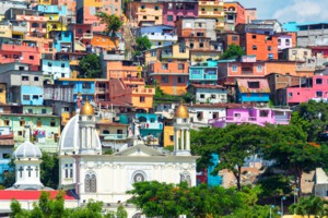 Church and colourful houses in Guayaquil, Ecuador