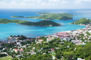 Aerial view of Charlotte Amalie, St Thomas
