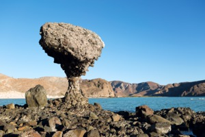 Balancing rock on Balandra Beach, La Paz, Mexico