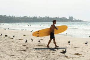 Surfing in San Diego, California