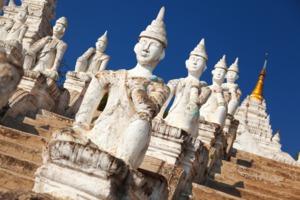 Statues at Settawya Paya, Mingun
