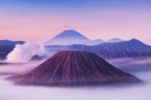 Mount Bromo, Batok and Semeru volcanoes at sunrise, Java, Indonesia