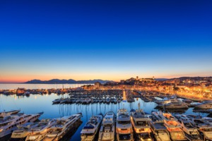 Yachts moored in Cannes, France