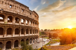 The Colosseum at sunset, Rome
