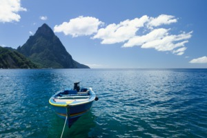 Boat near the Pitons, Saint Lucia