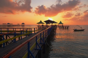 Sunrise at Kenjeran beach in Surabaya, Indonesia