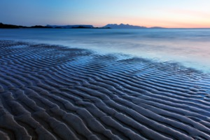 View of Eigg and Rum from Camusdarach beach, Scotland