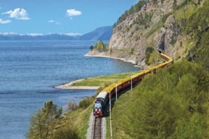 Tsar's Gold Trans-Siberian train on Lake Baikal, Russia