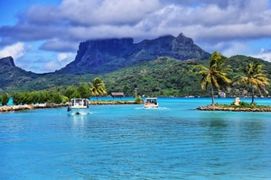 View from Bora Bora airport, French Polynesia