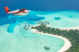 Sea plane over the Maldives