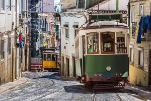 Vintage tram in Lisbon, Portugal