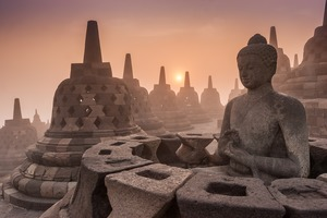 Sunrise over Borobudur, Indonesia