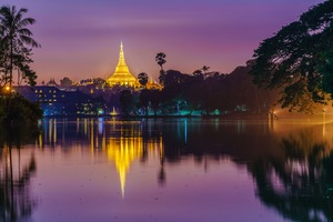 Shwedagon Pagoda, Yangon at night
