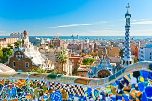 View from Park Guell in Barcelona, Spain