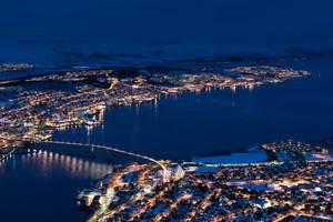 Aerial view of Tromso at night, Norway