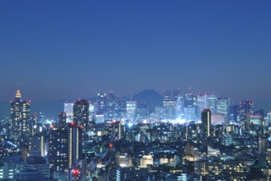 Tokyo and Mount Fuji at night
