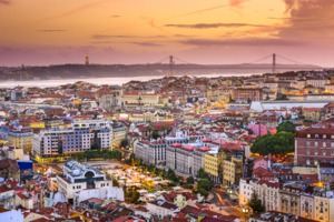 Lisbon skyline at sunset