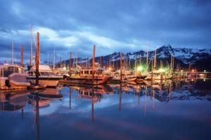 Seward harbour at night