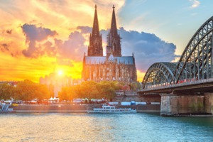 Sunset over Cologne cathedral, Germany