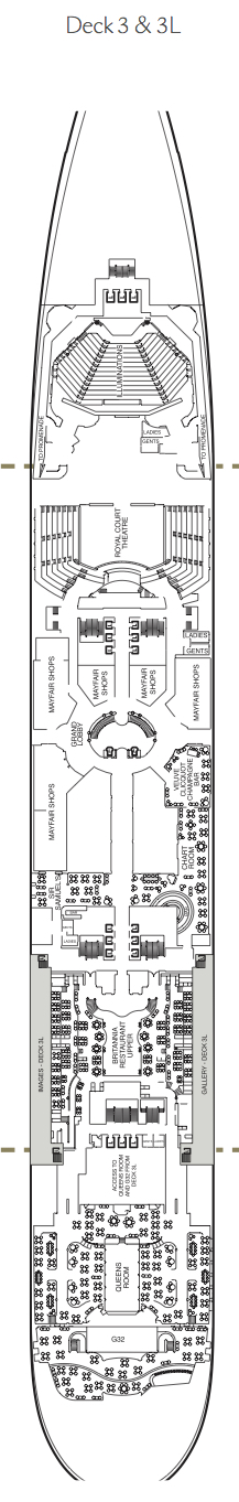 Queen Mary 2 deck plans - Deck 3