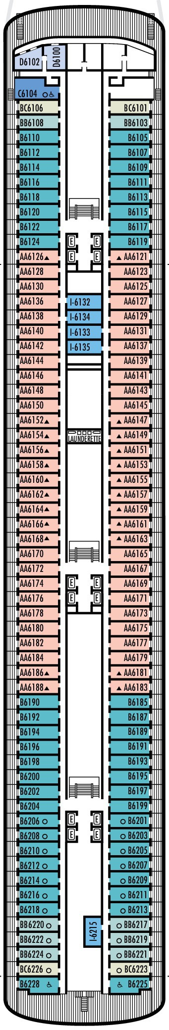 Holland America Line - Volendam & Zaandam deck plans - Deck 6
