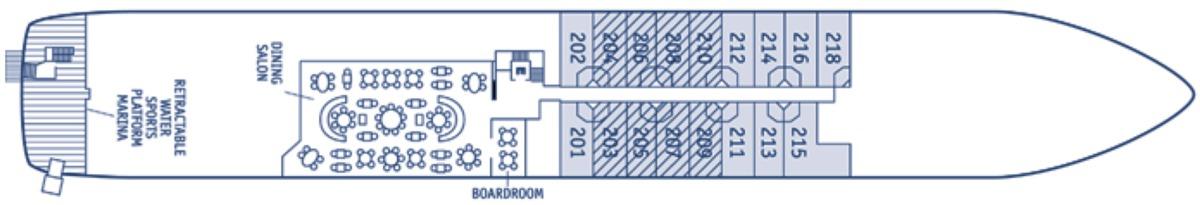 SeaDream Yacht Club deck plans - Deck 2