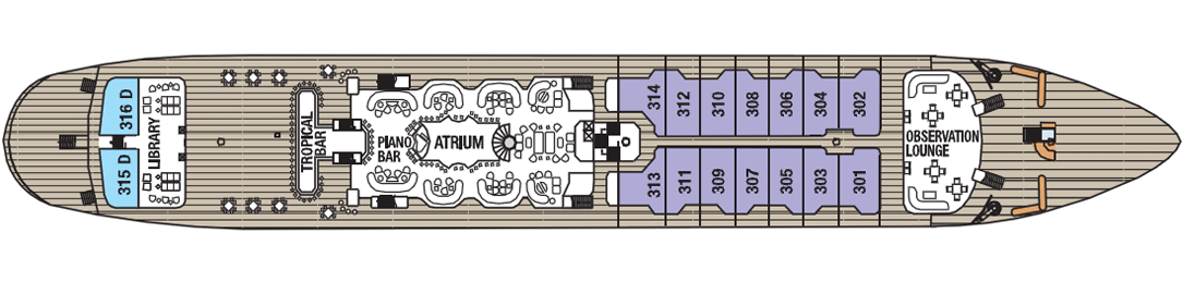 Royal Clipper deck plans - Main Deck