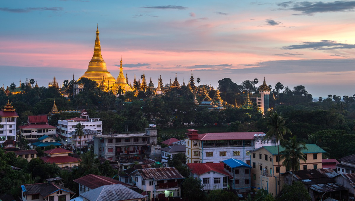 Sunset over Yangon