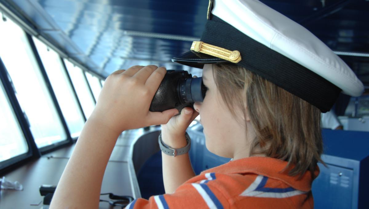 Child on the bridge, Crystal Cruises
