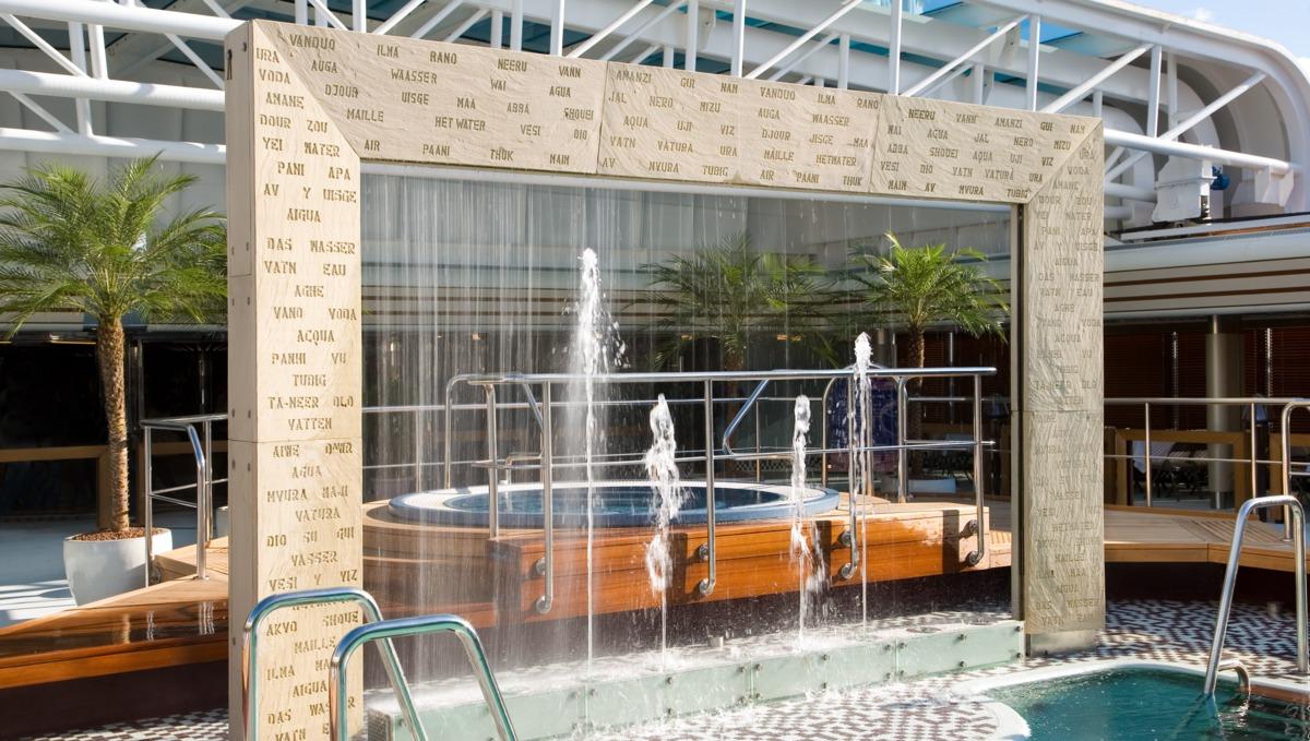 Holland America Line cruises - MS Eurodam pool and waterfall