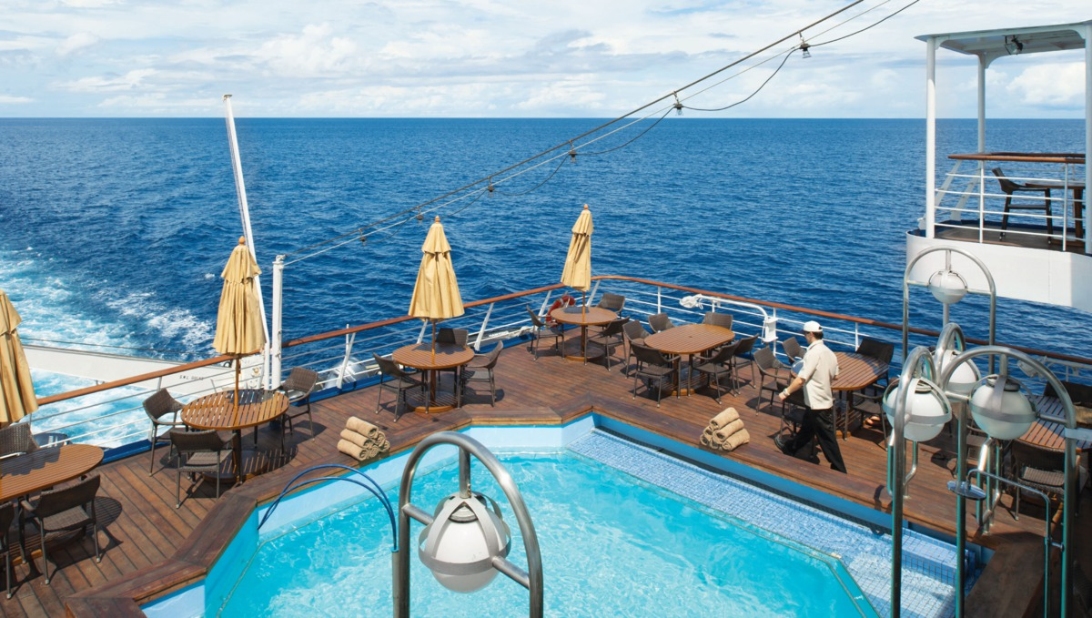 Pool deck on the small expedition ship Silver Discoverer