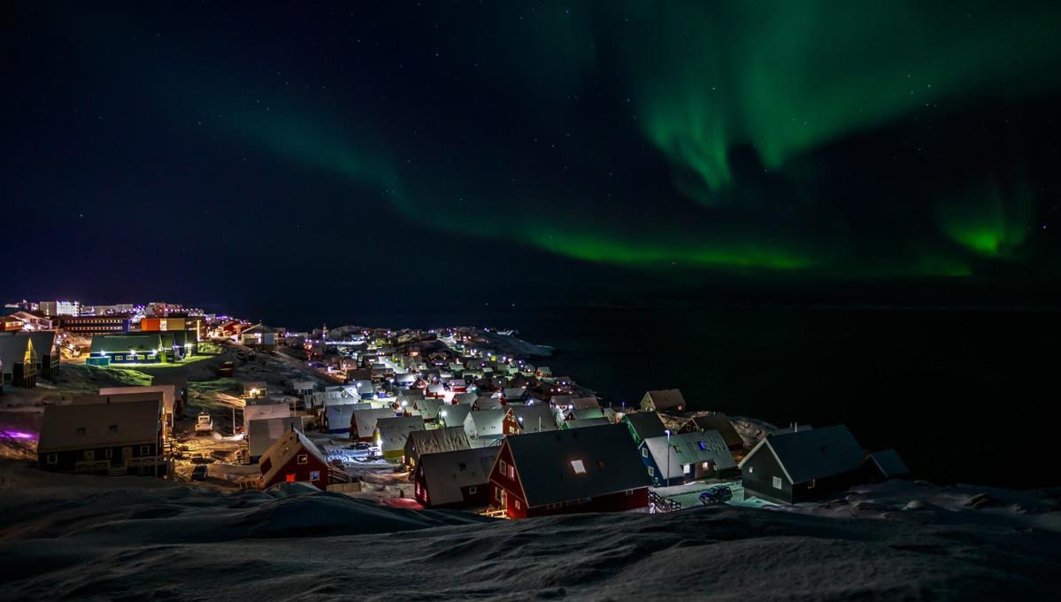 Greenland & Northwest Passage cruises - Northern Lights over Nuuk