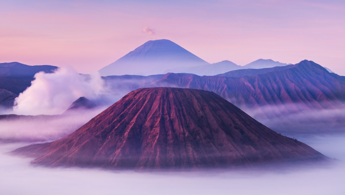 Bromo, Batok and Semeru volcanoes in Java, Indonesia