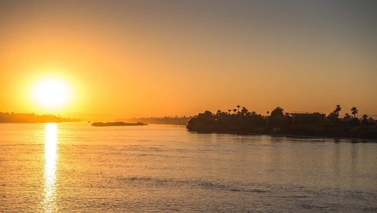 Nile river cruise at sunset