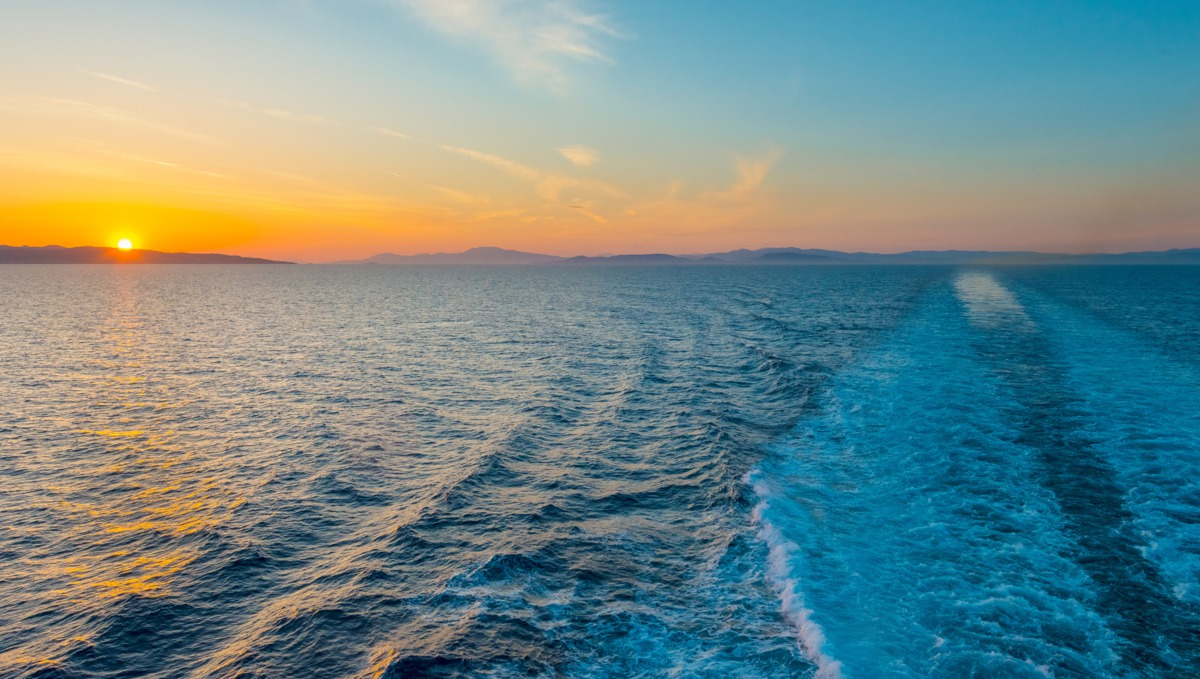 View from the back of a cruise ship in the Mediterranean