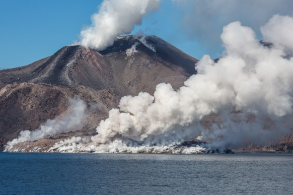 Snow volcano on Chirpoy Island, Russia