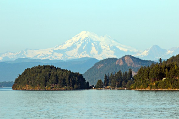View of Mount Baker from San Juan Islands, USA