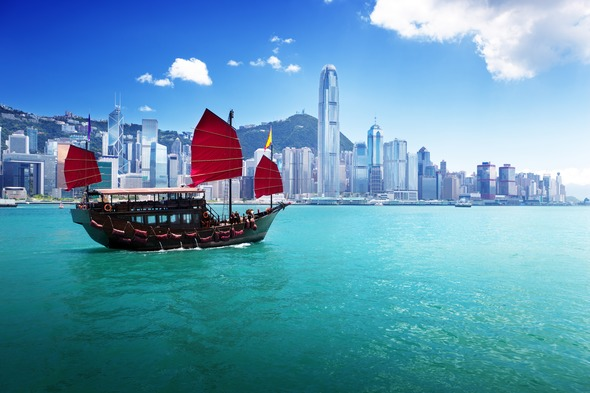 Hong Kong boat and city skyline