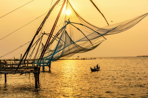 Traditional fishing in Cochin, India