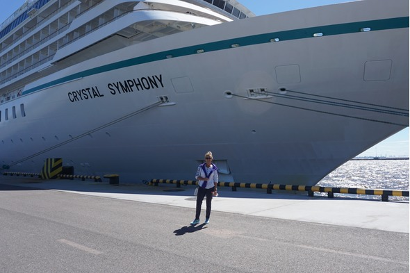 Susan next to Crystal Symphony on her Baltic cruise