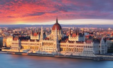 Sunrise over Parliament building, Budapest