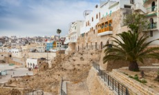 Ancient walls and houses in Tangier, Morocco