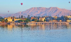 Hot air balloons over Luxor, Egypt