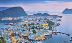 Aerial view of Alesund, Norway