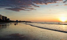 Sunset over Manta beach, Ecuador