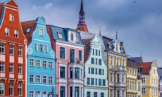Historic buildings in Rostock, Germany