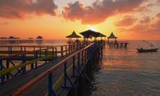 Sunrise at Kenjeran beach in Surabaya, Indonesia