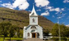 White church in Seydisfjordur, Iceland